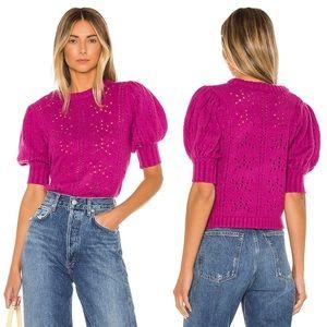 For Love & Lemons Brooke Pointelle Sweater in Pink